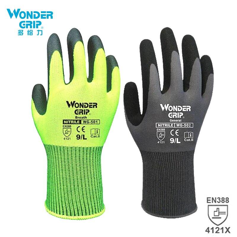 Wonder Grip Construction Gloves Plumber Red Nylon Shell Black Nitrile Sandy Coating Work Safety Gloves Men Work Gloves