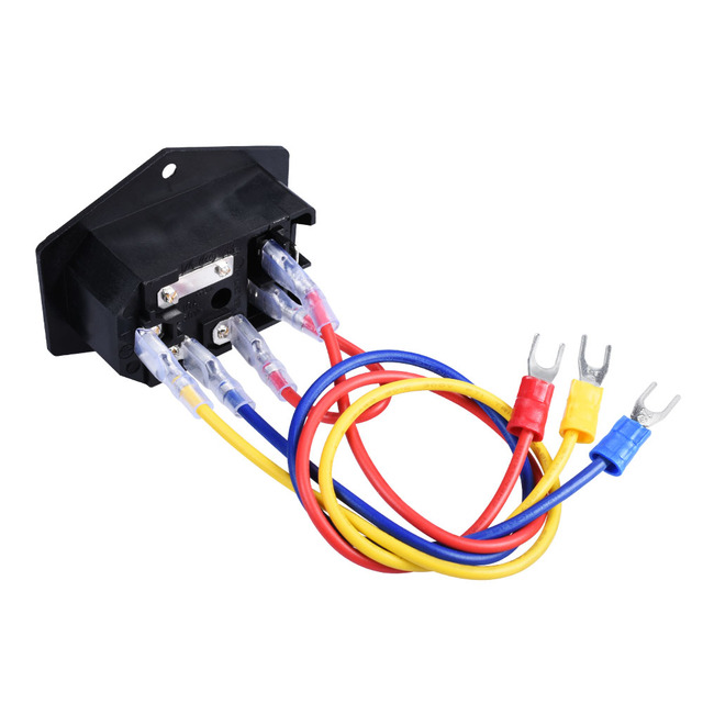 1/2/3 PCS 10A 250V Power Switch AC Power Outlet With Red Triple Rocker Switch Fused Module Plug For 3D Printer Parts 6