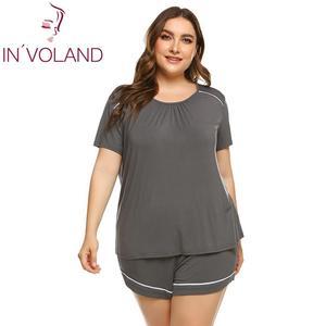 Image 1 - Women Plus Size Sleepwear Pajamas Scoop Neck Short SleeveTops Elastic Waist Shorts Summer Pajama Set Nightwear