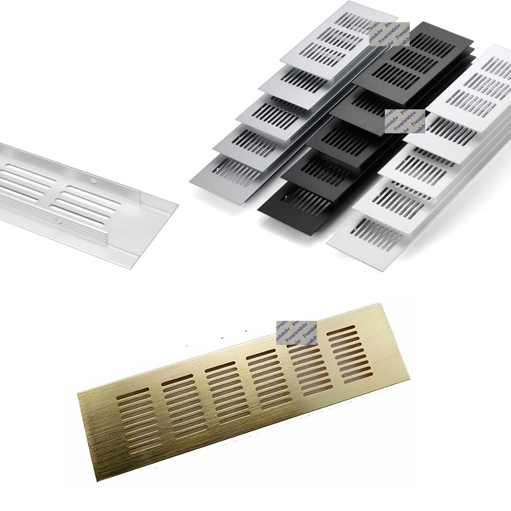 2Pcs 80mm Rectangle Aluminum Perforated Air Vent Ventilation Grille Cover Furniture Cabinet A/C Gold Black Ivory White Paint