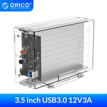 ORICO 3.5'' 2 Bay Hard Drive Enclosure Transparent SATA to USB3.0 Type-B HDD Box Case with 12V3A Power Adapter 24TB Capacity