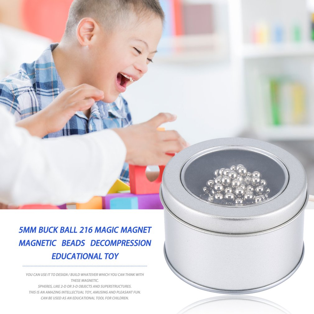 5Mm Buck Ball 216 Magic Magnet Magnetic Beads Decompression Educational Toy N35 Ndfeb Magnetic Ball Toys
