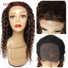 Wigs Human-Hair Water-Wave-Color 4-Chocolate Lace Closure Brown Cheap 150%Density 4x4