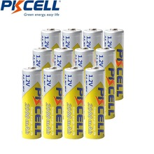 12Pieces PKCELL AA battery NI MH rechargeable batteries 2A Bateria Baterias NI MH 2000mAh 1.2V AA Rechargeable Battery
