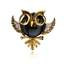 Gariton Yellow Plated Bronze Vintage Black Eyes Jewelry 4 Colors Opal Rhinestone Owl Women Brooches Pins