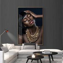 Обнаженная африканская Женская Золотая девушка ожерелье портрет