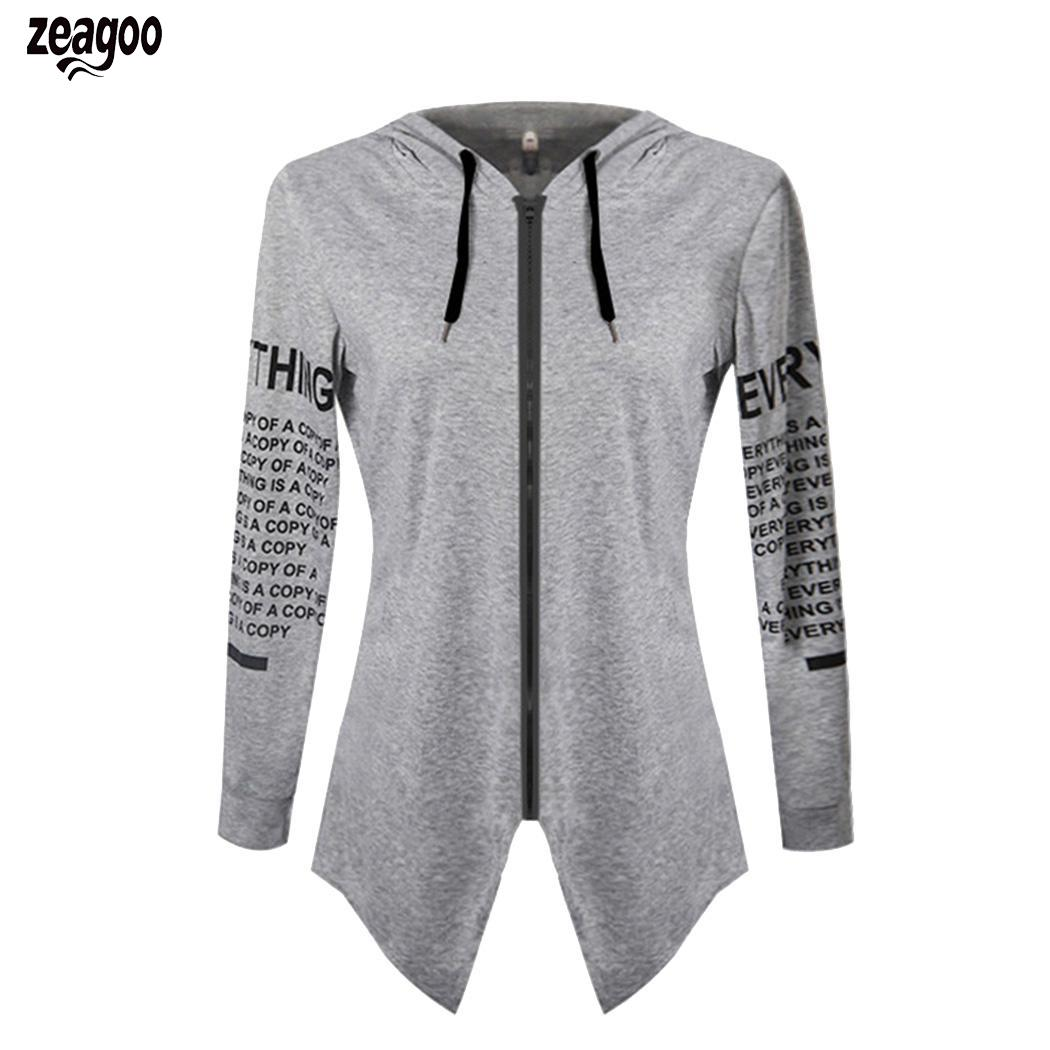 Women Casual Long Sleeve Hooded Letter Autumn,Winter Print Slim Zipper Pockets,Back Split Hoodie Coat