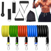 Exercise Resistance Bands Set Up to 115 lbs Fitness Stretch Workout Bands with 5 Fitness Tubes Home Gym Yoga Equipment Men Women 1