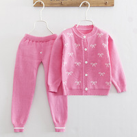 Infant Baby Bowknot Print Clothing Sets Toddler Long Sleeve Sweater+Pant Knitted Suits Newborn Causal O neck Outfits AA52202