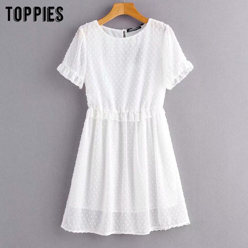 Summer Jacquard Mini Dress White Mesh Dress Dot Korean Clothes Short Sleeve A-line Vestidos