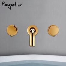 Bagnolux полированный золотой Латунный сиамский настенный кран