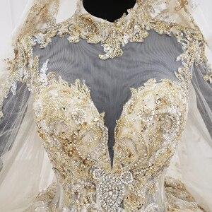 Image 5 - Кружевное бальное платье HTL1141, свадебное платье с длинным рукавом и высокой горловиной, с аппликацией, бальное платье невесты с хиджабом, платье casamento civil