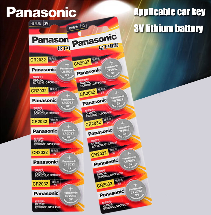 Panasonic Original 10pcs/lot cr 2032 Button Cell Batteries 3V Coin Lithium Battery For Watch Remote Control Calculator cr2032(China)