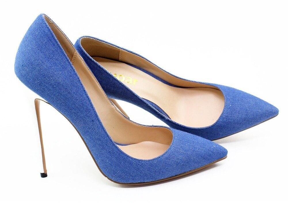 Sandalia de cuero Demin mujeres Super tacón alto tacones finos sandalias Sexy tacones blancos zapatos talla grande 35 45 punta dedo del pie pista zapatos - 5