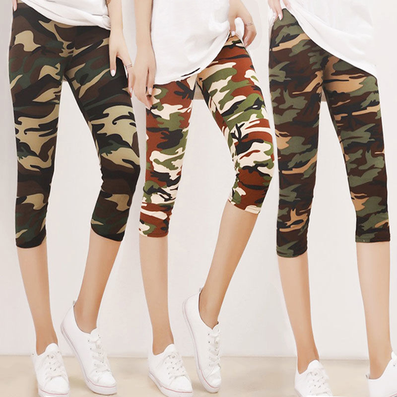 CUHAKCI Camouflage Printed Leggings Sexy Women Lady Army Green High Elastic Fitness Leggins Polyester Capris Workout Trousers