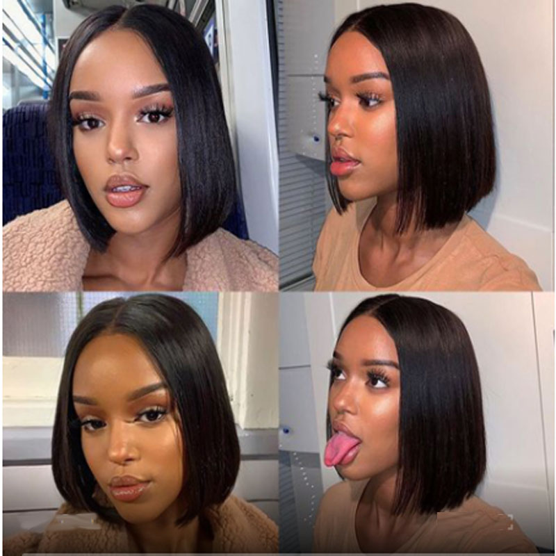 Cut 13×6 Lace Frontal  Short Human Hair Wigs With Bangs Pre Plucked Brazilian Remy Straight Hair For Women
