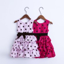 цена на Girl dress summer Baby girls dress  Dot Clothes Princess Dress red pink 2 color cotton 2 years 3 4 Kids dress In stock Hot