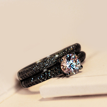 Vintage Female Crystal Round Wedding Ring Set Fashion Black Gold Bridal Engagement Ring Promise Zircon Stone Rings For Women