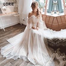 LORIE-vestidos de novia bohemios con hombros descubiertos, ropa de boda romántica, mangas abullonadas de lunares, para playa, 2021