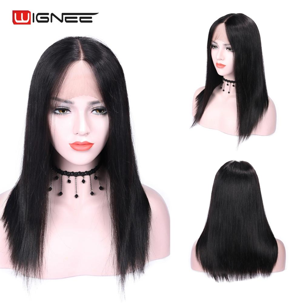 Wignee Middle Part Straight Hair Human Wigs For Black Women Brazilian Remy 150% High Density Glueless Lace Part Human Hair Wigs