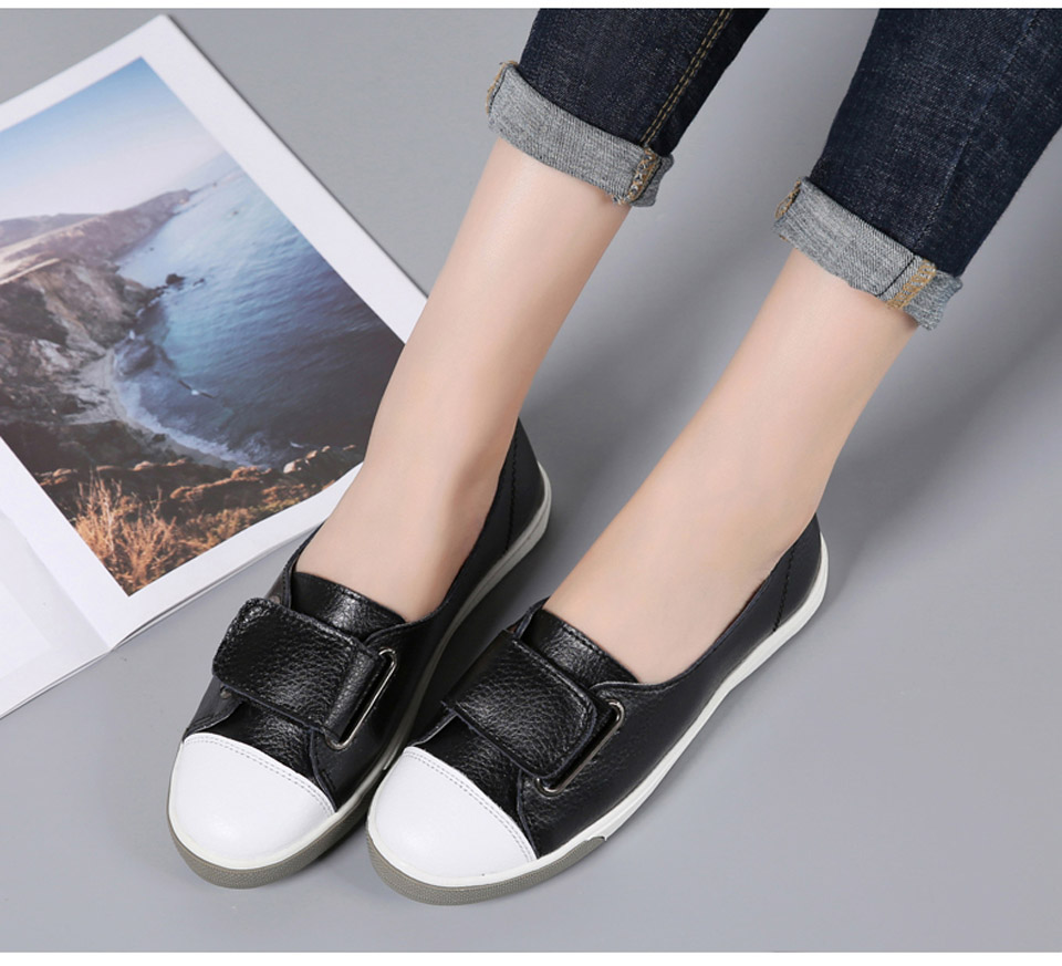 H348155d222d749d7b9d732a6825bbc63R - Ngouxm Fashion Women Loafers Flats Woman Lady female Slip On White Genuine Leather Moccasins Casual Shoes zapatos de mujer