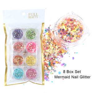 Image 5 - 8 Box/Set Spangles for Nails Holographic Mermaid Nail Art Sequins Gel Polish Flakes Manicure Glitter Powder Decor LA1506 02 1
