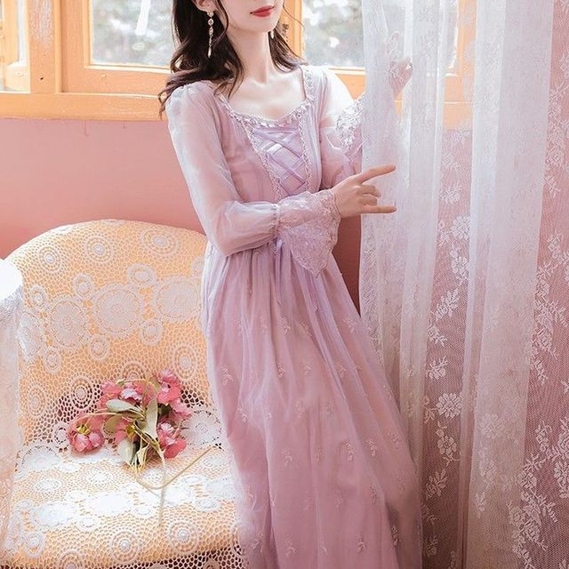 Pink_Elegant_Dress_Women_Autumn_Sweet_Floral_Midi_Dress_Female_Casual_Lace_Chiffon_Bandage_Fairy_Dre 6