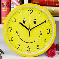Żółty Smiley Face duży zegar ścienny nowoczesny Cartoon dzieci sypialnia cichy zegar kuchenny promocja 2019 Reloj zegar dekoracyjny do domu B50