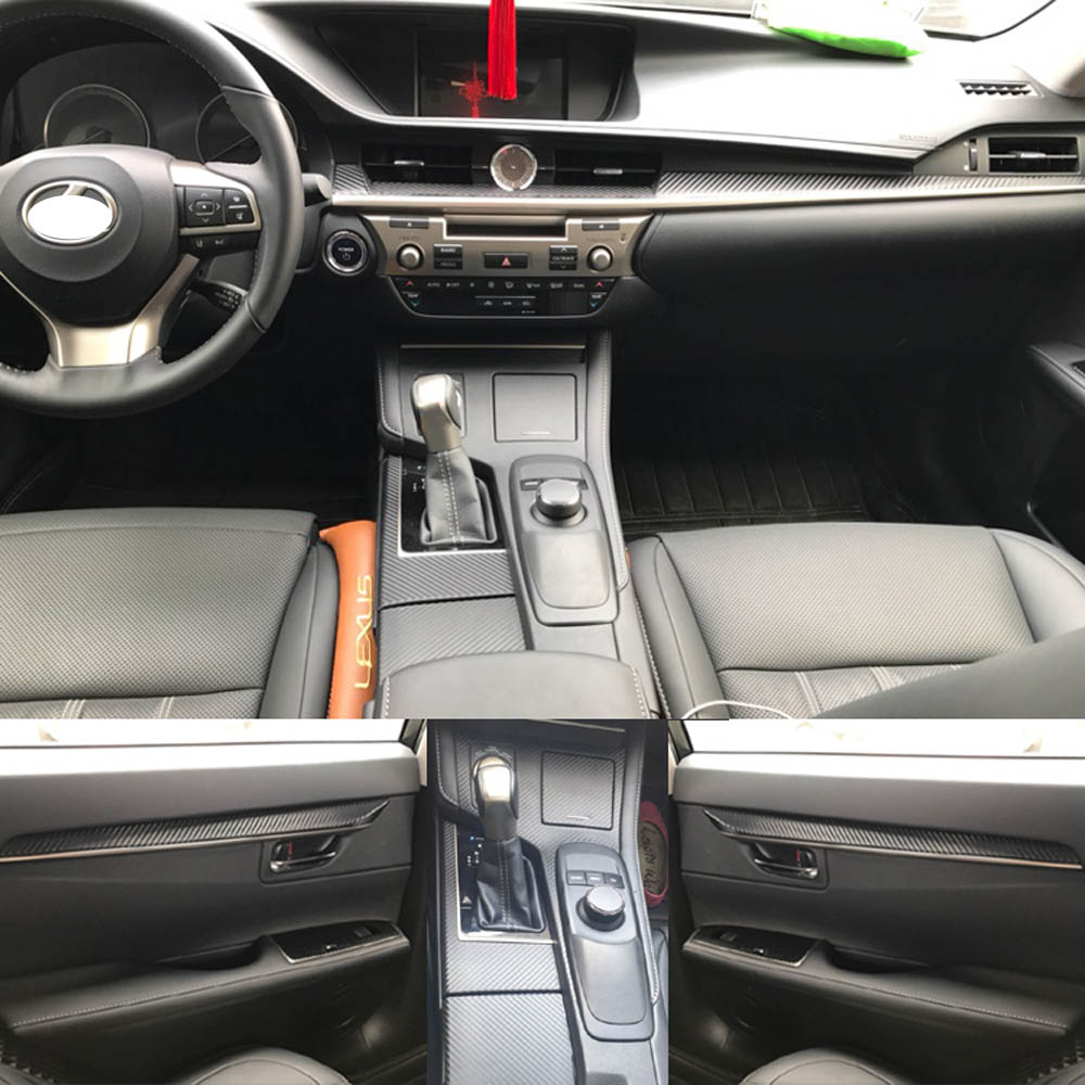 For Lexus ES 2013-2017 Interior Central Control Panel Door Handle 3D/5D Carbon Fiber Stickers Decals Car styling Accessorie