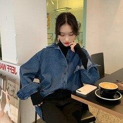 Ropa de otoño e invierno 2019 nuevo estilo coreano camisa holgada de manga larga para mujer Vintage sabor Hong Kong de longitud media Ver
