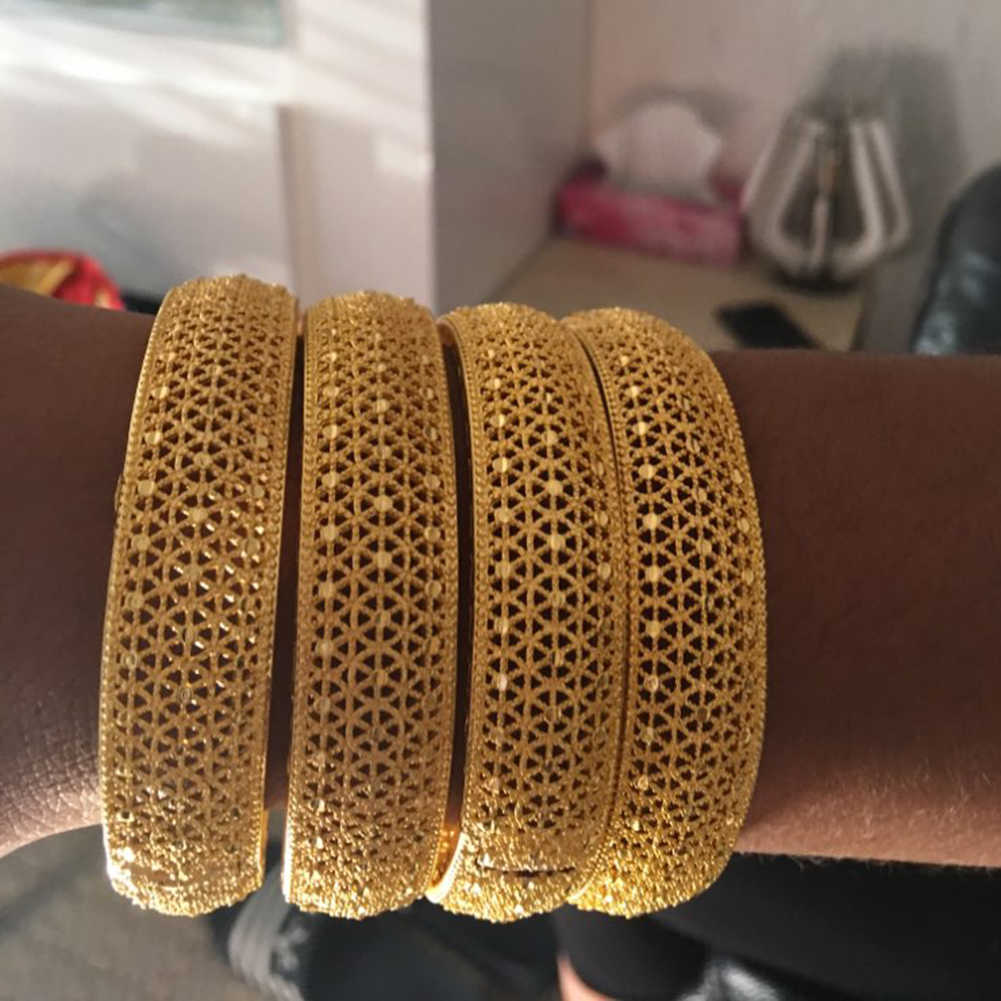 Wando 4pcs/lot 24kGold Bangle for Women Gold Dubai Bride Wedding Ethiopian Bracelet Africa Bangle Arab Jewelry Gold Charm wb97