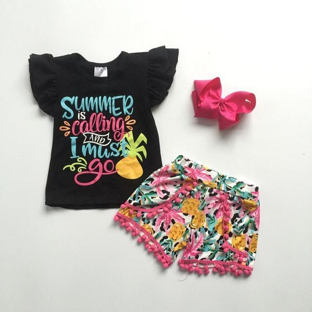 Bé Gái Trẻ Em Quần Áo Kidswear Trang Phục Mùa Hè Là Gọi Dứa Pom Pom Quần Short Chất Liệu Cotton Ren Boutique Phù Hợp Với Nơ