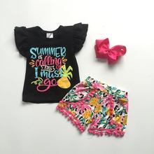 baby girls children clothes kidswear outfits summer is calling pineapple pom pom shorts cotton ruffle boutique match bow