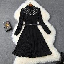 High street Lace jurken zwart Runway 2019 nieuwe lente Vrouwen Nagel kraal jurk Kleding Volledige mouwen party Jurk EEN Lijn met riem