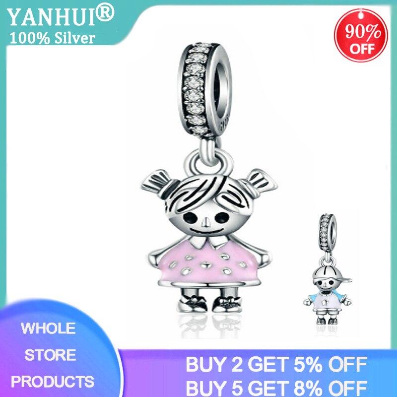 YANHUI 100% 925 Sterling Silver Couple Little Girl & Boy Car Keychain Pendant Fit Women Girls Charm Bracelet Jewelry Making KC03