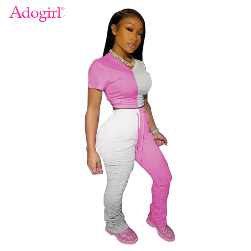 Adogirl Color Patchwork Women Tracksuit Casual Two Piece Set O Neck Short Sleeve T Shirt Crop Top Ruched Flare Pants Suits
