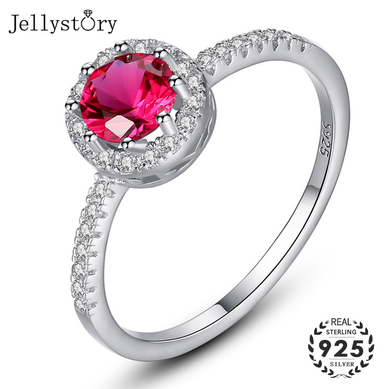 Jellystory 925 Sterling Silver Ring Creative Ruby Rings for Female Wedding Party Round Red Gemstone Ring Innrech Market.com
