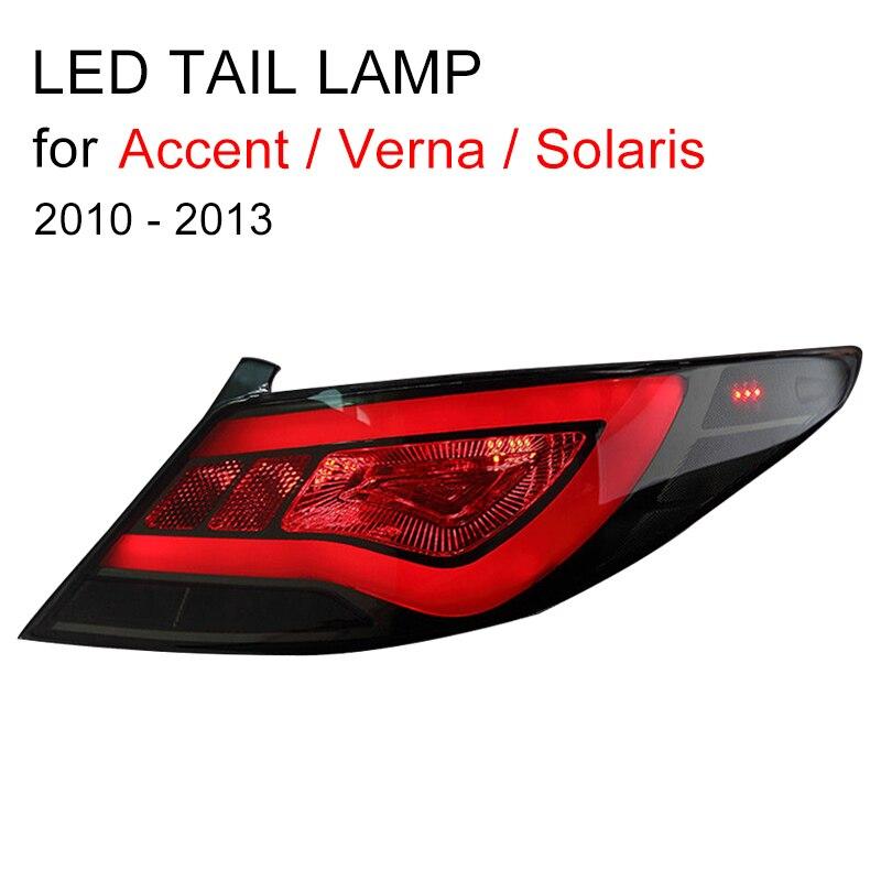 LED Tail Lamp For Hyundai Accent/Verna/Solaris 2010 2011 2012 2013 Red Smok Black LED Tail Light Turning Signal And Brake Light