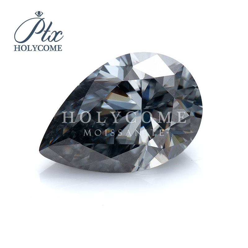 High quality 0.8CT 5X8MM loose gemstone gray pear cut moissanite