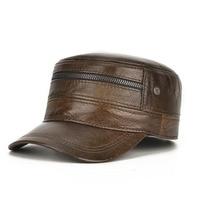 LA Men's Genuine Leather Hat Male Baseball Cap Goatskin Baseball Cap Students Fashion Flat Leather Hats Adjustable