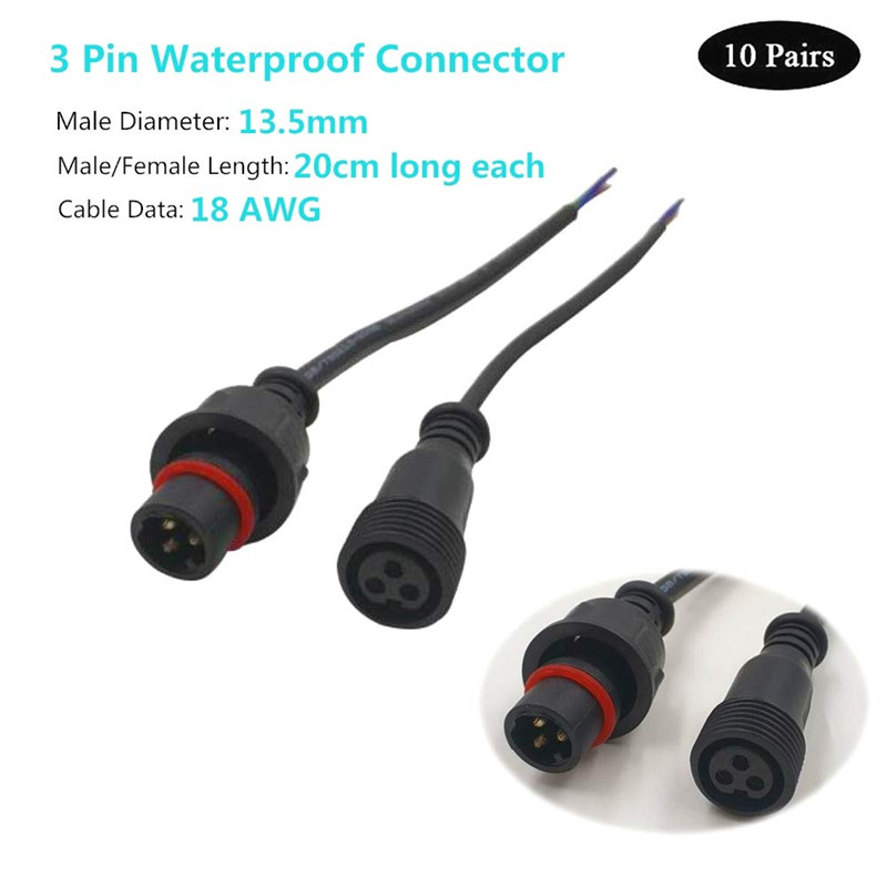 3 Core BLACK Waterproof Pigtail,20cm/30cm/50cm Long Each;male And Female;male Connector's Diameter:13.5mm/18.5mm Outdoor Ip68