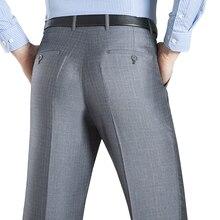 Летний деловой Тонкий костюм брюки для мужчин 29-50 весна осень мужской формальный стрейч сплошной шелк длинное платье мешковатые офисные брюки
