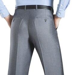Летний деловой Тонкий костюм брюки для мужчин 29-50 весна осень мужской формальный стрейч сплошной шелк длинное платье мешковатые офисные бр...