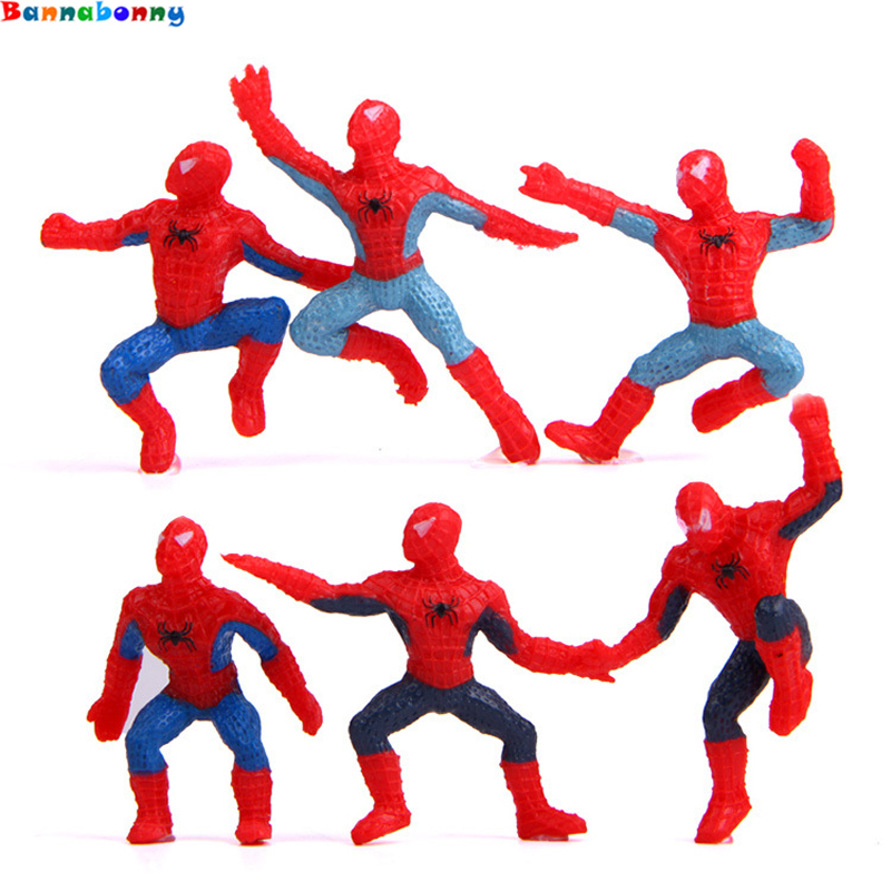 6 Pcs/set 5 Cm Mini Spider-Man Figure Superhero Spiderman Spider Man PVC Action Figure Toys For Children