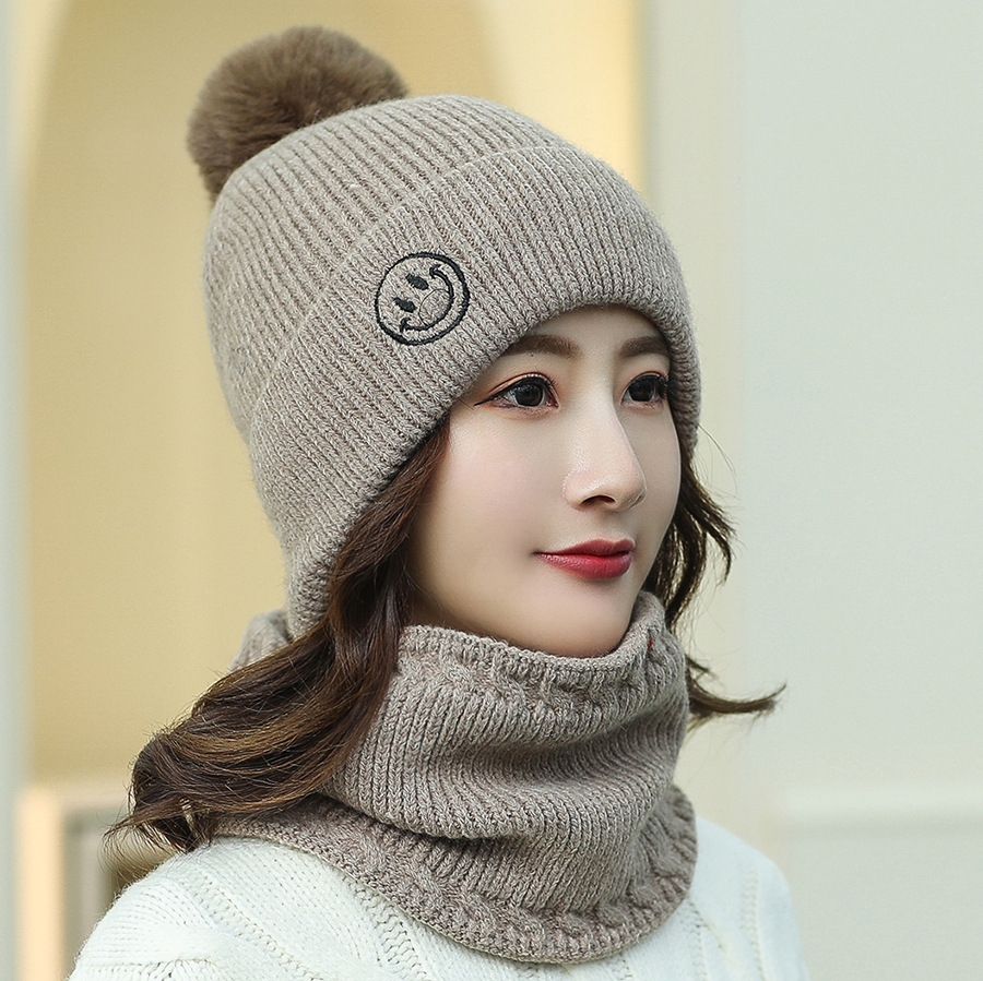 DeePom Knitted Hat With Scarf Two Sets Winter Hats For Women Girls With Pompom Hat And Scarf Collars Set Thick Keep Windproof