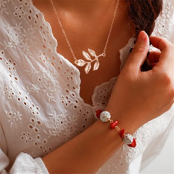 Bohemian Creative Crystal Bal Rood Grind Blad Ketting Armband Set Vrouwen Sieraden En Accessoires Ketting Ketting Collares Mujer image