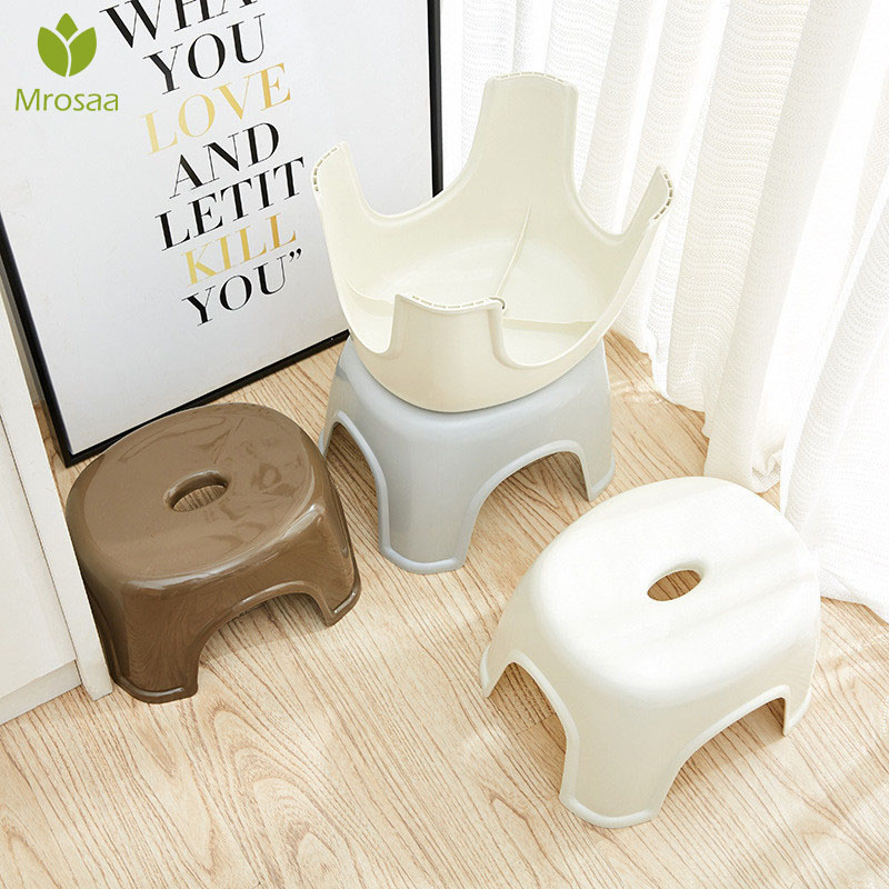 Household Non-Slip Plastic Stool Adult Children Thicken Low Stool Changing Shoes Stool Great For Kitchen, Bathroom, Living Room