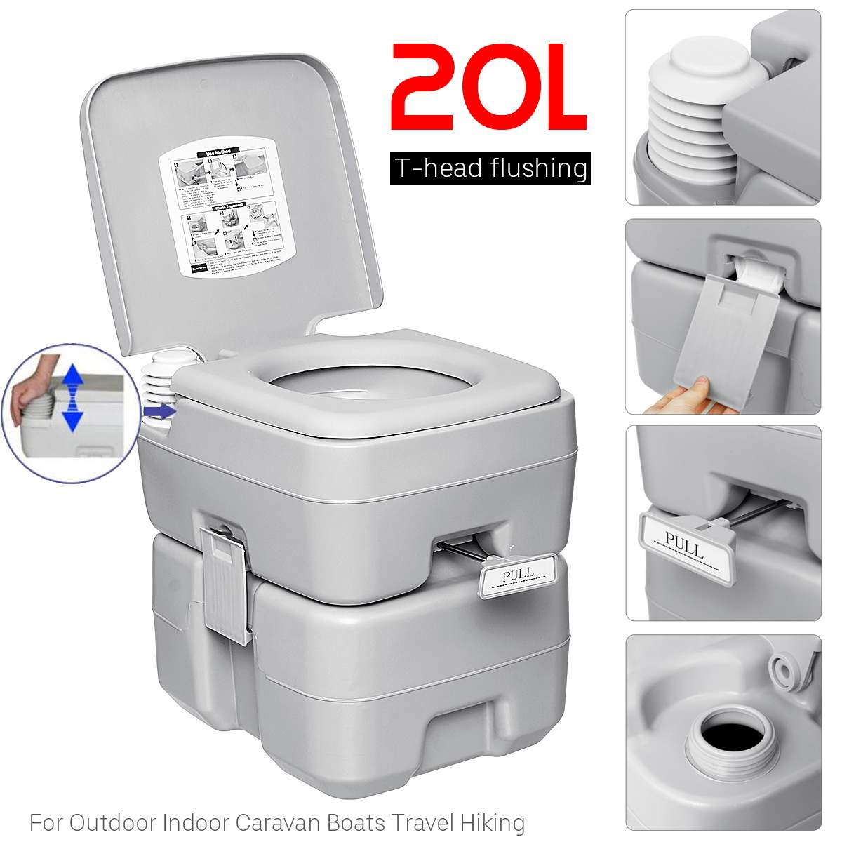 20L Outdoor Portable Camping Toilet Caravan Travel Camp Boating Fishing Flush