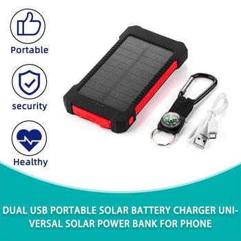 Large Capacity Solar Powerbank Dual USB Portable Battery Power Bank Charger Universal Mobile Phone External Smartphone 98 155wh generator big capacity power bank 42000mah portable charger energy storage backup power supply dc ac external battery