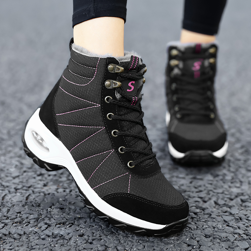 Winter Shoes Woman Snow Boots Warm Fur Plush Insole Boots Flock Ankle Boots Women Shoes Lace-up Lightweight Sneakers Women 13